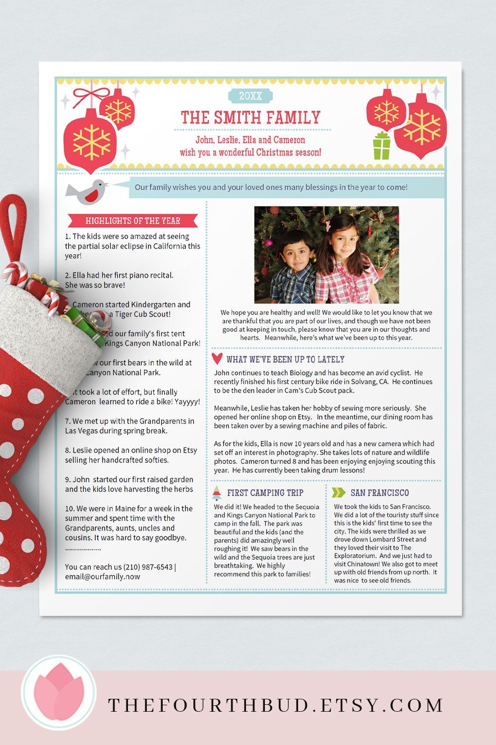Christmas Letter Template In Pdf For Print Christmas Etsy Christmas Letter Template Christmas Lettering Christmas Layouts