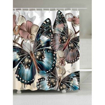 Mouldproof Butterfly Print Shower Curtain Dress LillyBathroom