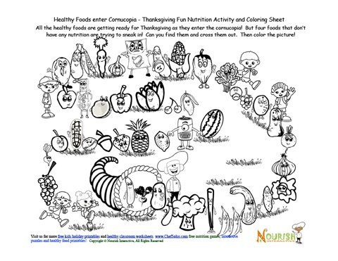 Cornucopia Healthy Foods Activity Fun and Coloring Sheet   Clinic ...