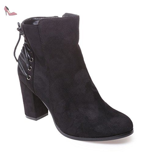 Casual Comfortable Low Mid Heel Faux Leather Suede Pointy Toe Ankle Booties With Zipper Closure IG7X7 Taille-41 zUgsnUgwnu
