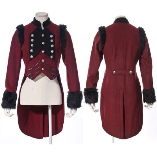 Designer Antique Red Gothic Military Dress Tail Trench Coat Women