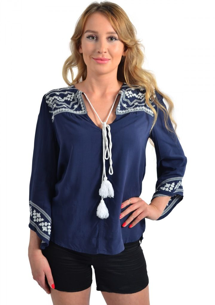 Boho Inspired Tassel Blouse Navy 34,90 € #happinessbtq