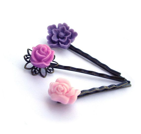 Flower Hair pins pink and purple lilac resin rose by JPwithLove http://etsy.me/sIIeQz $15 #hair_accessory