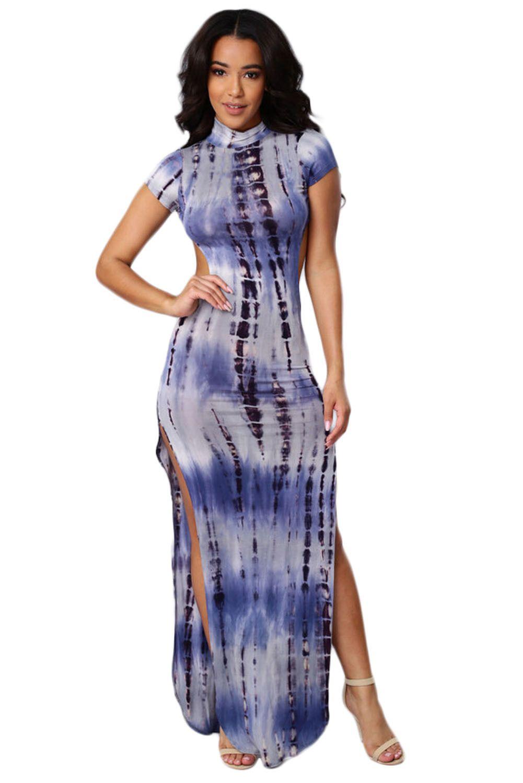 Achat Robes Longues Dos Ouvert Bleu Tie Dye Impression Cheongsam Robe en  Petit Prix, Acheter en Solde de Mode Robes Maxi en Ligne! 4ed538f9e424