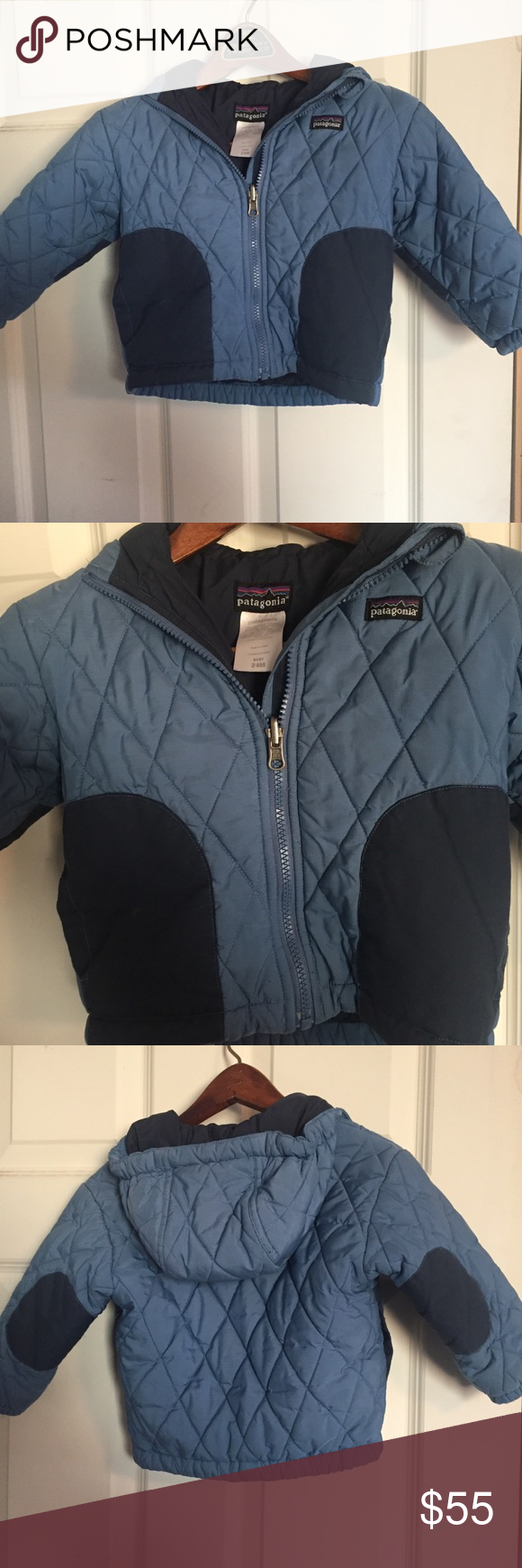 PATAGONIA Blue Hooded Baby Puffer Coat Size 24M Puffer