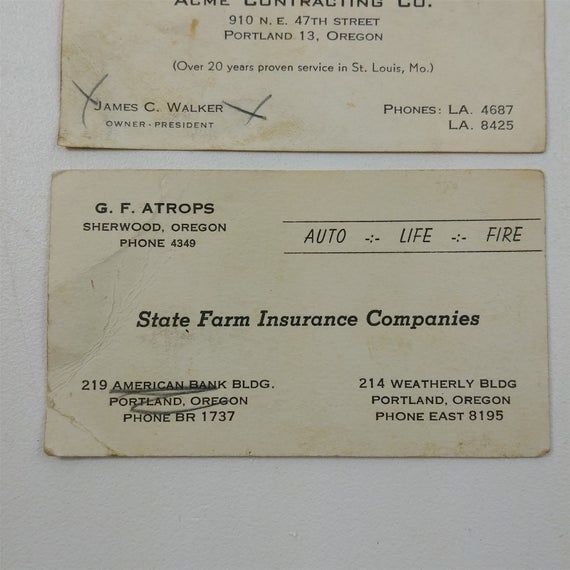 Business cards are in preowned condition, have staining and creasing - see pictures for details.