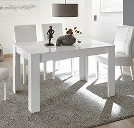 Tavolo, 6 posti a sedere, bianco laccato lucido serigrafato | Madie ...