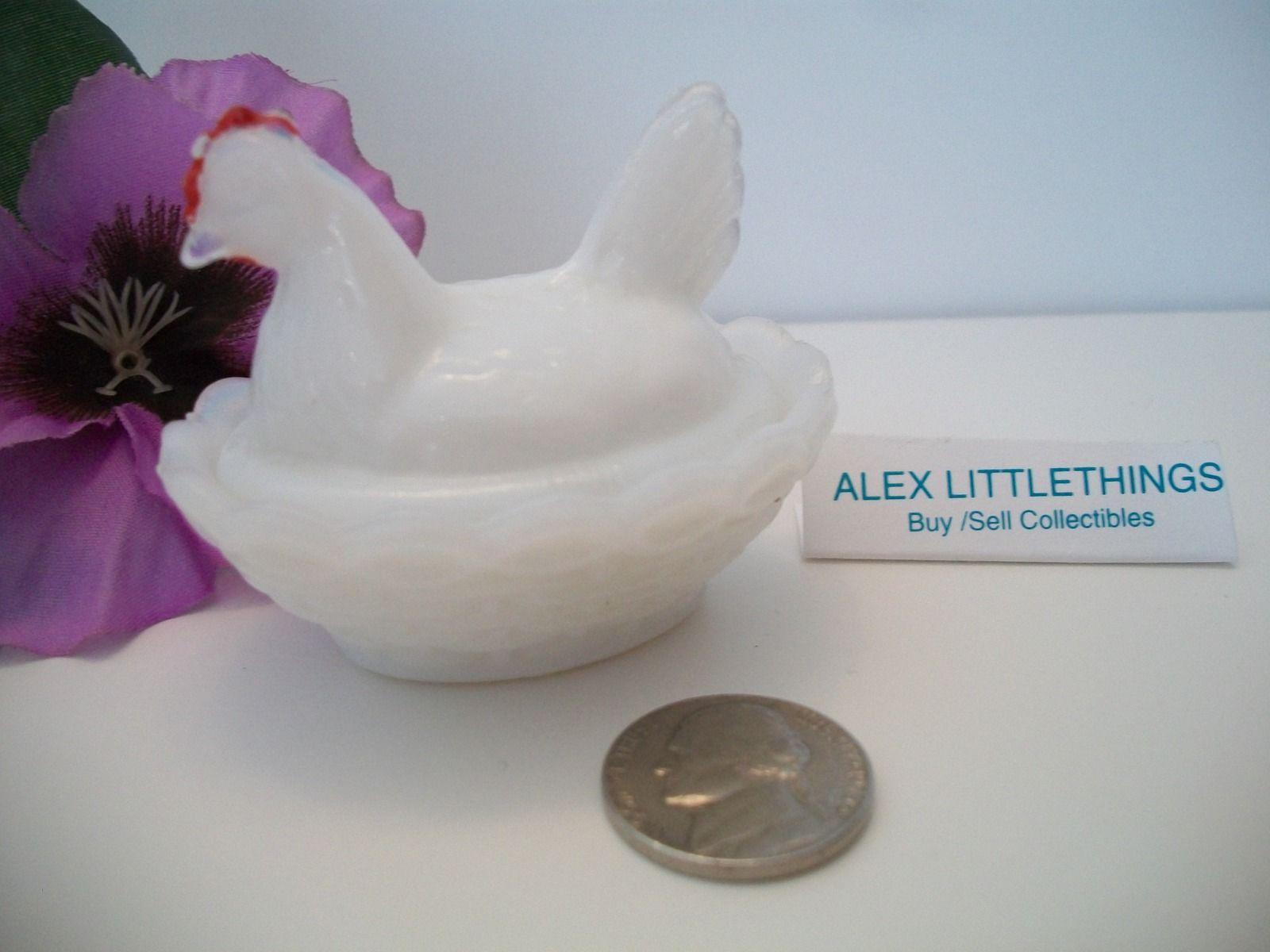 vintage miniature milk glass hen on the nest dish