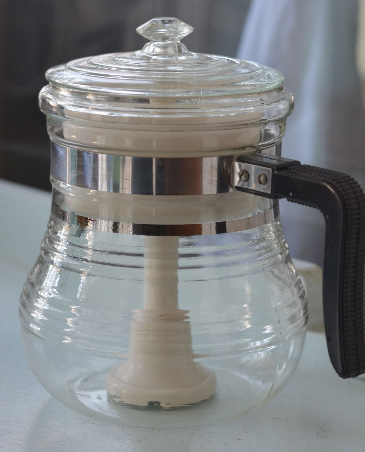 VIntage Ribbed Glass PERCOLATOR Stove TOP Etsy