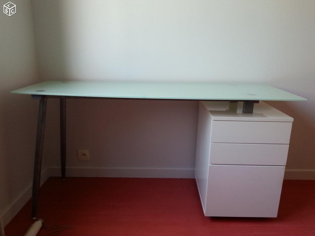 Bureau plateau en verre tiroirs blanc laqué bureaux pinterest