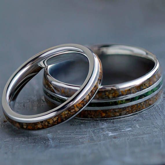 Crushed Dinosaur Bone Wedding Band Set Couples Platinum Wedding