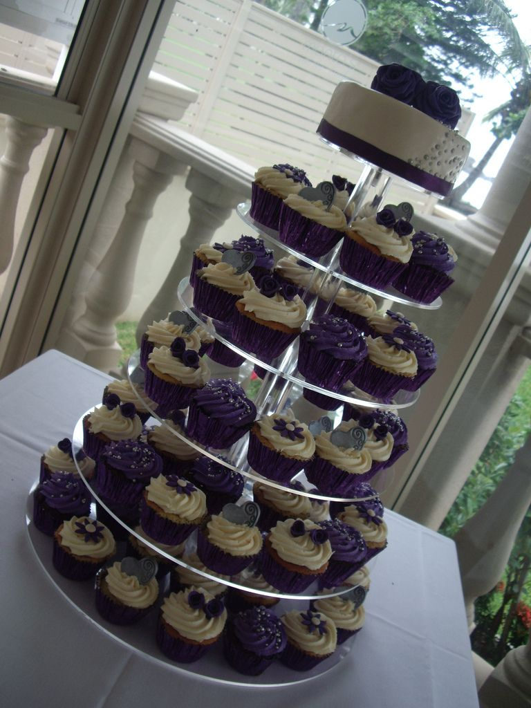 Purple & Cream cupcake tower