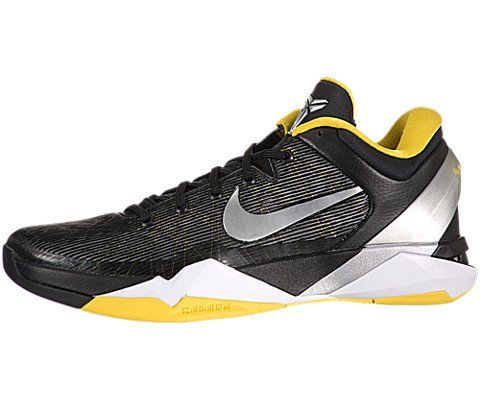Nike Zoom Kobe VII Supreme Mens Basketball Shoes-Black/Yellow/Silver/White