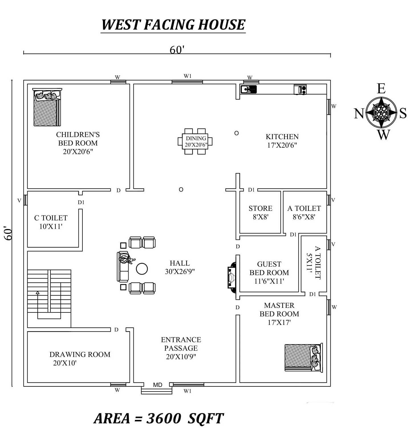 Autocad Drawing file shows 60'X 60' spacious 3bhk West