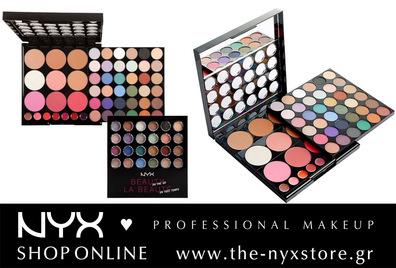 "H παλέτα που τα έχει όλα! Η NYX ""Beauty on the Go"" Palette περιέχει 36 σκιές ματιών με ματ, satin και shimmer υφή για αμέτρητους συνδυασμούς, 3 ματ bronzers, 3 highlighters, 3 ρουζ και 7 κραγιόν για να ολοκληρώσετε το look! Must-have για τις γυναίκες που ταξιδεύουν πολύ και είναι συνέχεια on the go!  Βρείτε την παλέτα στο e-shop μας: http://bit.ly/1QYkBvo"