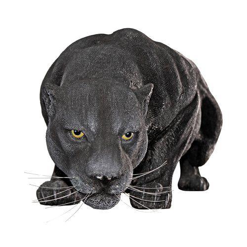 STALKING AFRICAN BLACK PANTHER OUTDOOR STATUE Jungle Predator Sculpture Yard Art