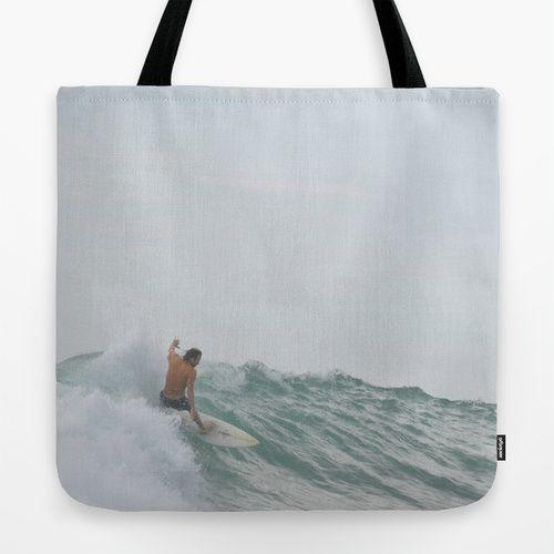 morning surf Tote Bag #surf #surfing #ocean #photography #sea #sport #coastal #coast #wave #minimal #minimalism #surfer #tote #bag #totebag