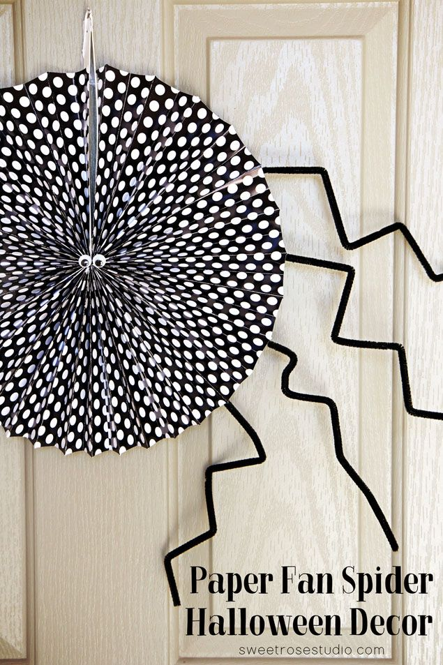 Paper Fan Spider Halloween Decor Holidays- HALLOWEEN Pinterest - large halloween decorations