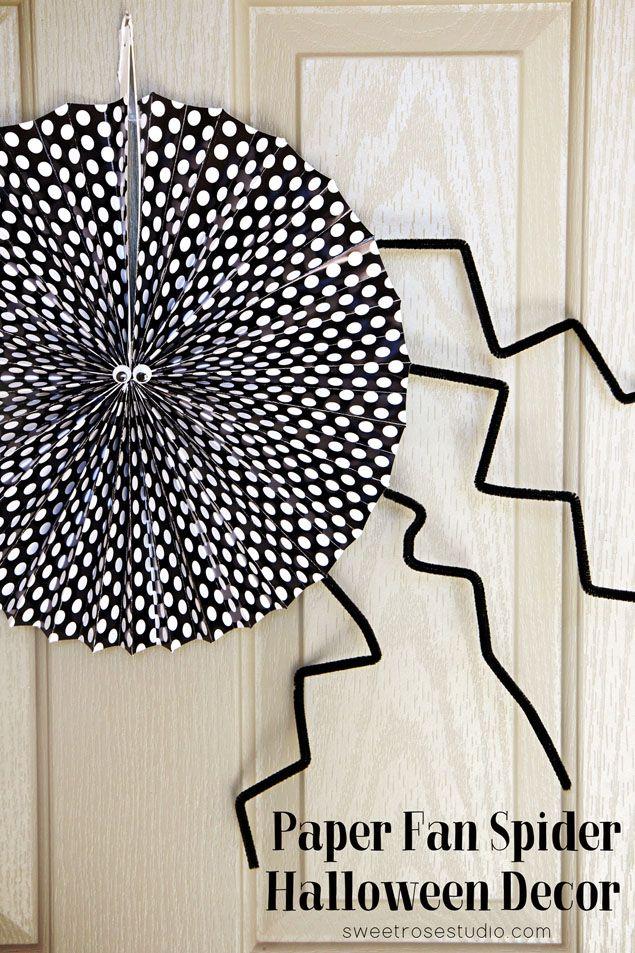 Paper Fan Spider Halloween Decor Holidays- HALLOWEEN Pinterest - halloween decorations spider