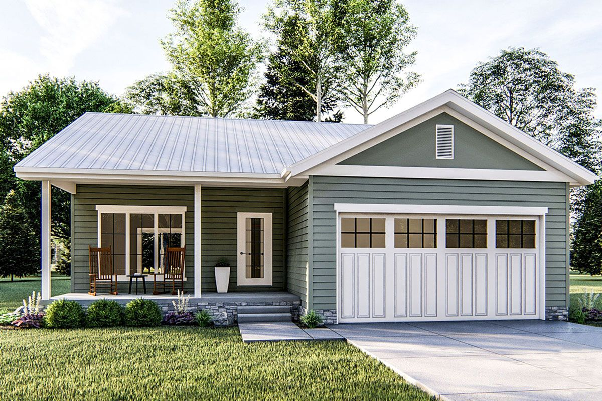 Plan 62694DJ: Tiny Vacation Cottage With Standing Seam Metal Roof | Metal  roof houses, Tin roof house, Standing seam metal roof