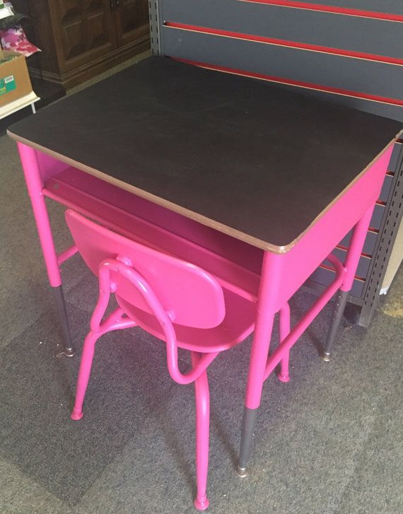Vintage Childs Size Heavy Duty Metal, Pink Metal School Desk