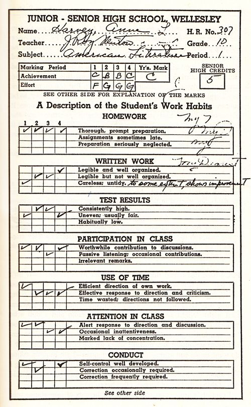 Anne Sexton S Report Card Anne Sexton Work Habits Report Card