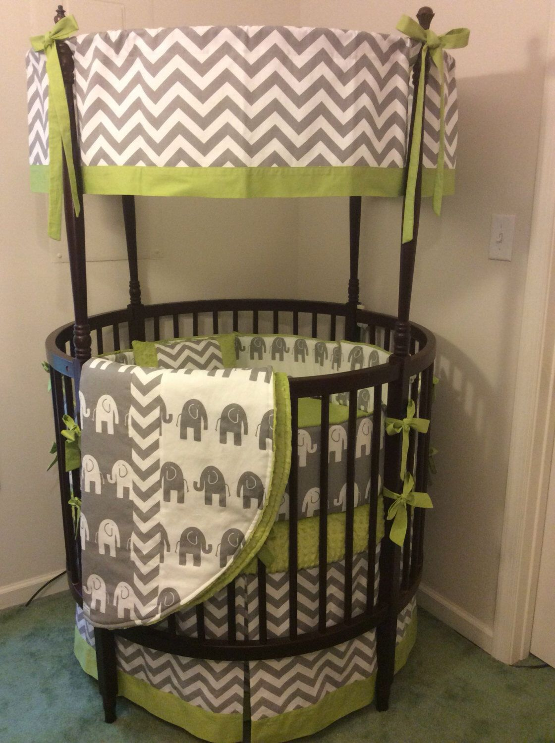 Chartreuse And Gray Round Crib Bedding Www Etsy Com Listing