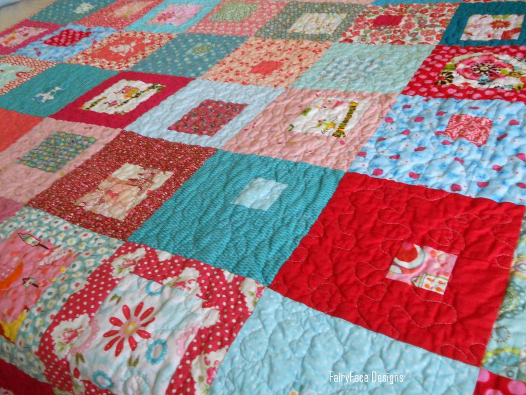 I Spy a Square Quilt on bed | by Sarah @ FairyFace Designs