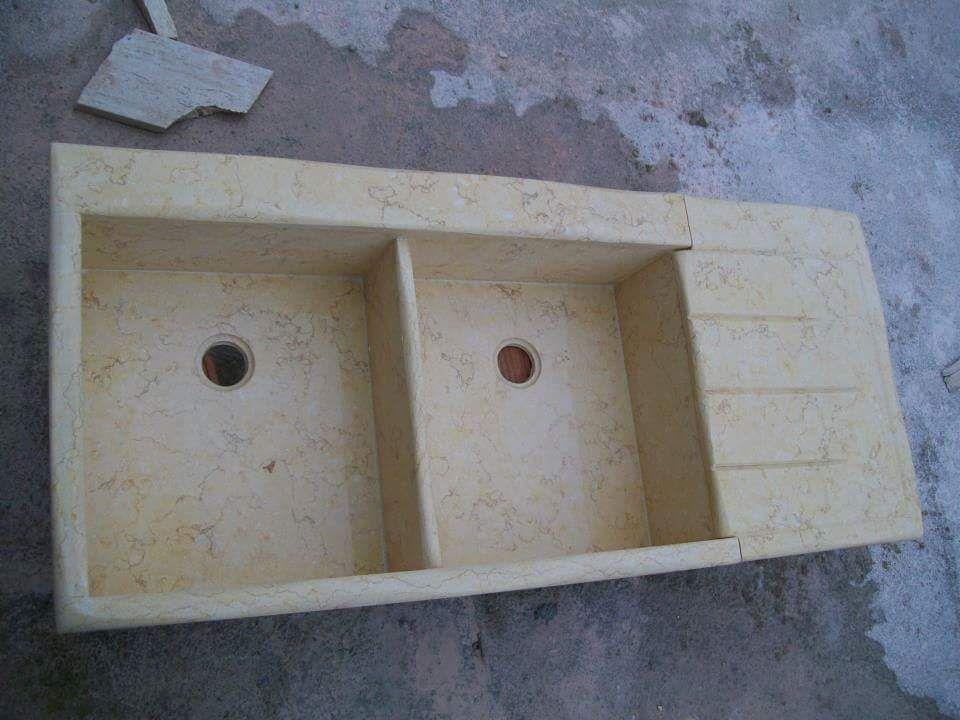 Lavandino lavello lavabo cucina in pietra marmo crema 2 vasche con ...
