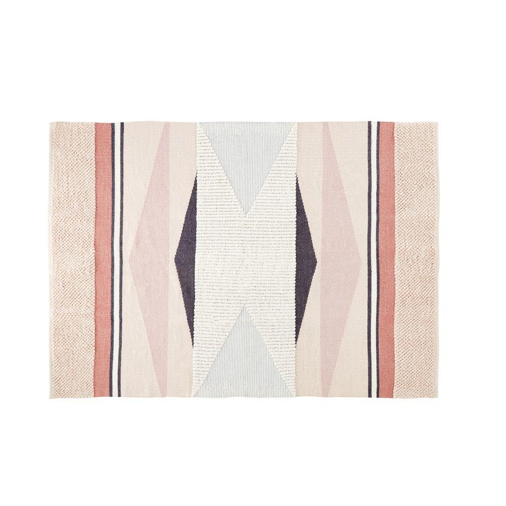 Wool And Cotton Woven Rug With Graphic Patterns 140x200 Maisons Du Monde Gewobener Teppich Teppich Maison Du Monde Teppich