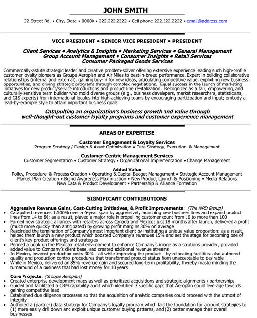A resume template for a Senior Vice President - Loyalty You can