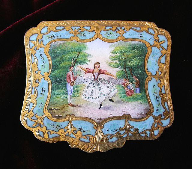 Italian silver enamel compact Madamoiselle De Camargo Dancing   Flickr - Photo Sharing!