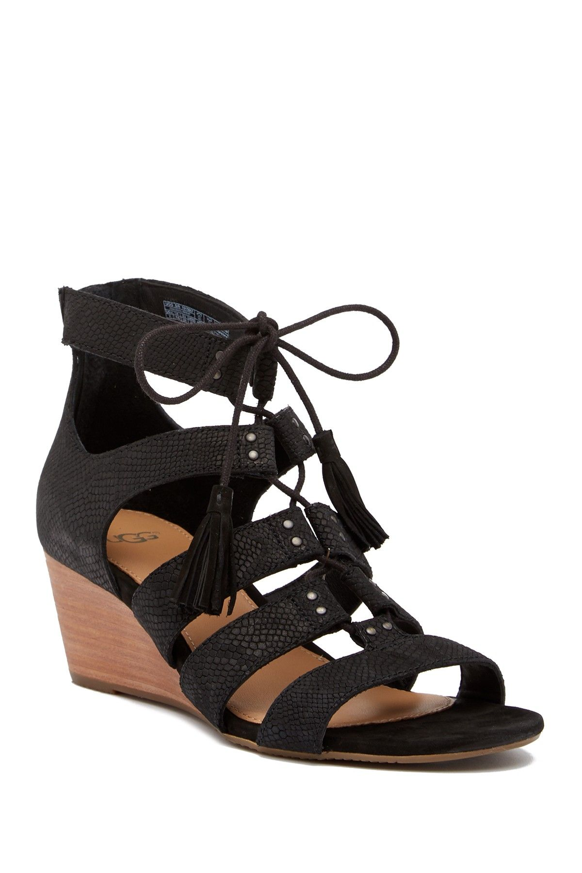 UGG Yasmin Snake Embossed Wedge Sandal
