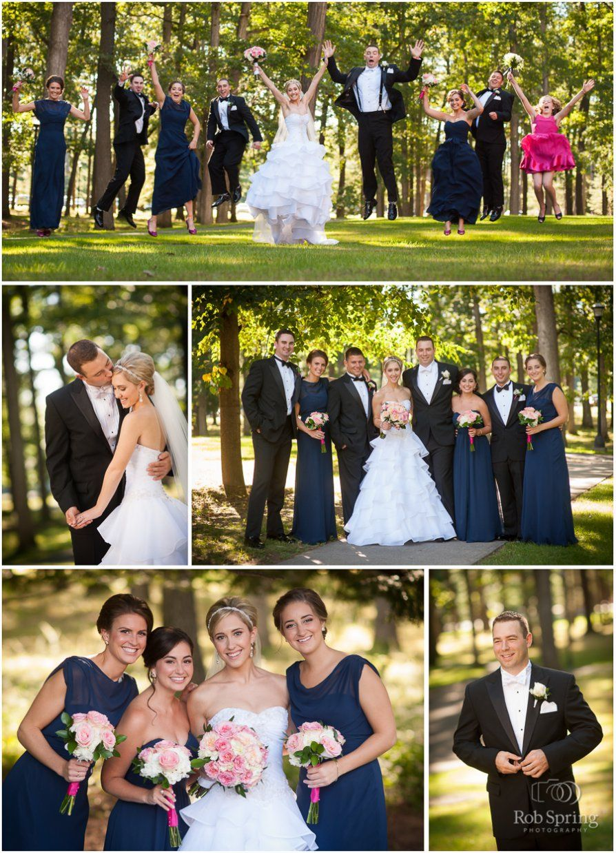 Ashley & Doug, Hall of Springs Wedding, Saratoga Springs NY, Summer Fairy Tale Wedding, Preppy wedding, jumping, fun, candid, navy bridesmaid dresses, navy & pink, bridal party ideas