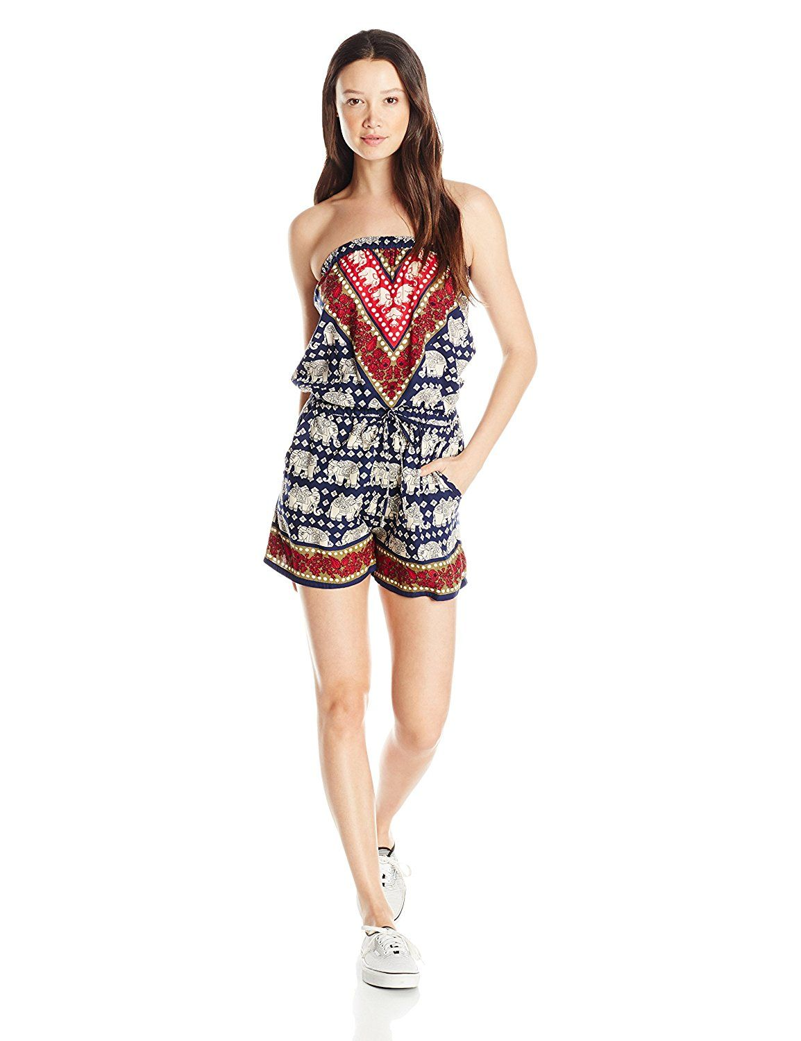 Angie Women's Elephant Print Romper ** This is an Amazon