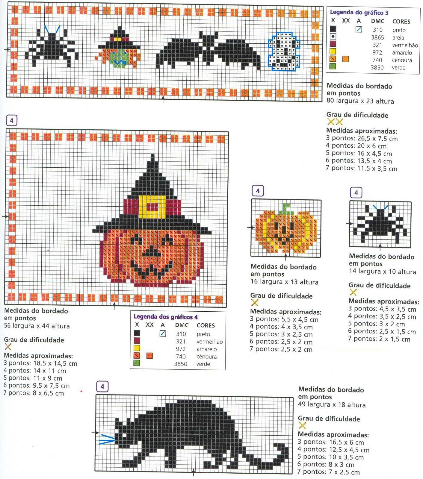 Halloween 2; Halloween motifs quick to stitch jack-o-lantern in witch hat and black cat.