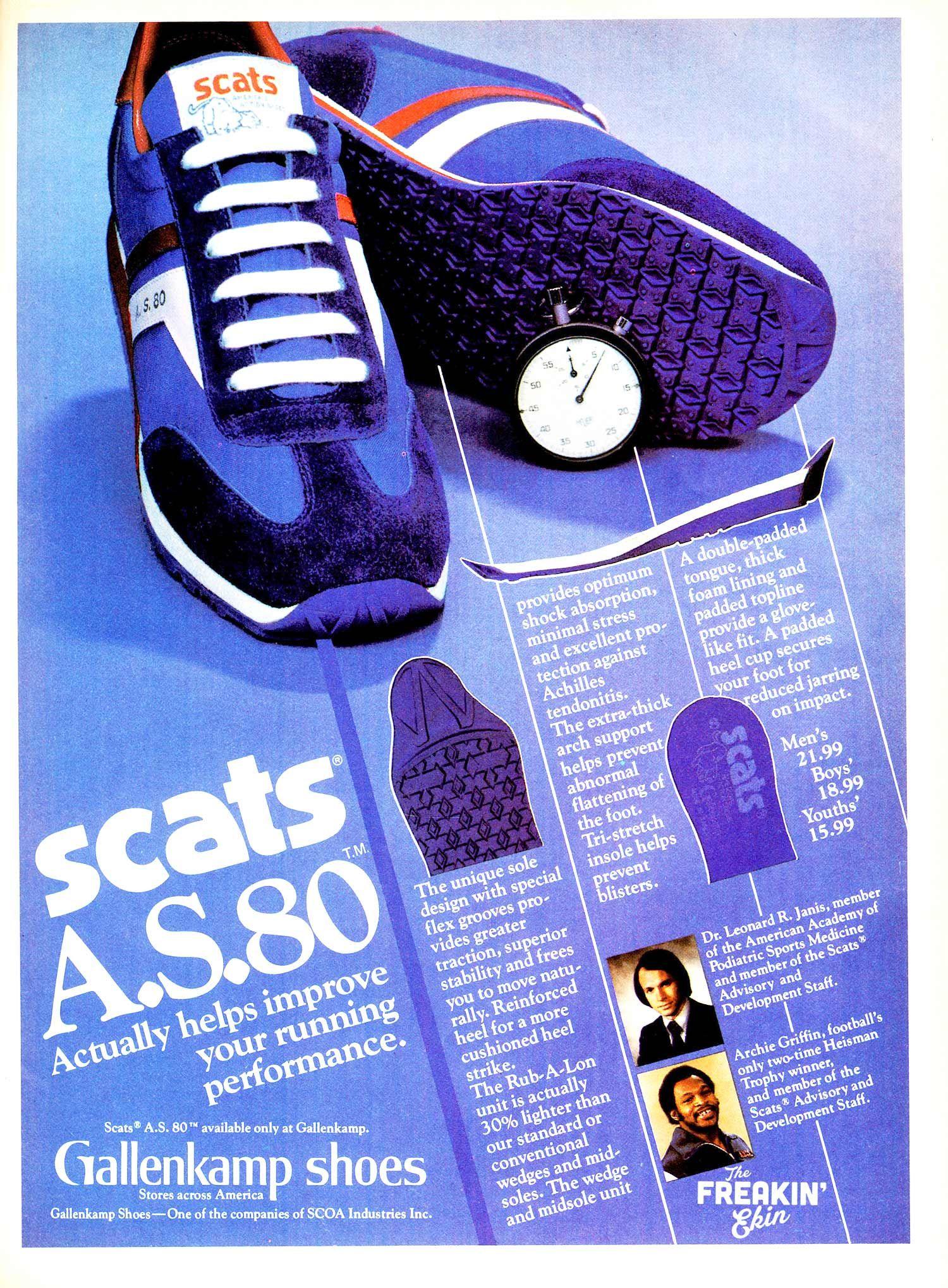 Biking Tennis 1980 GALLENKAMP SCATS Running Shoes VINTAGE ADVERTISEMENT