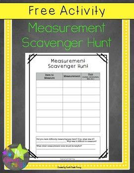Free Measurement Scavenger Hunt Activity   Measurement ...