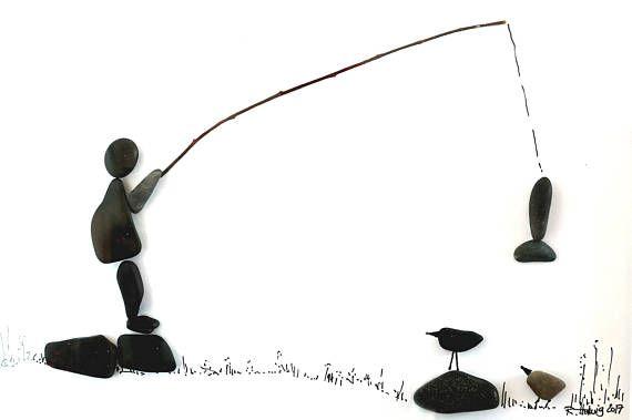 Steinbild Pebble Art Angler Geschenk Fur Angler Bild Geschenk