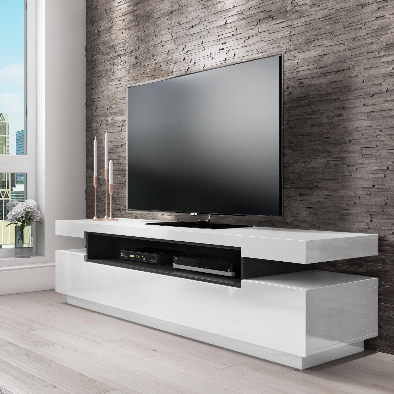 Harlow Rectangular High Gloss White Tv Unit With Grey Gloss Detail