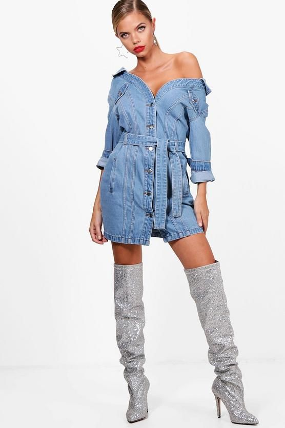 Boohoo Off The Shoulder Denim Shirt Dress Clearance Big Sale Free Shipping Manchester Great Sale Looking For For Sale Aaa Quality cuFmFCkn