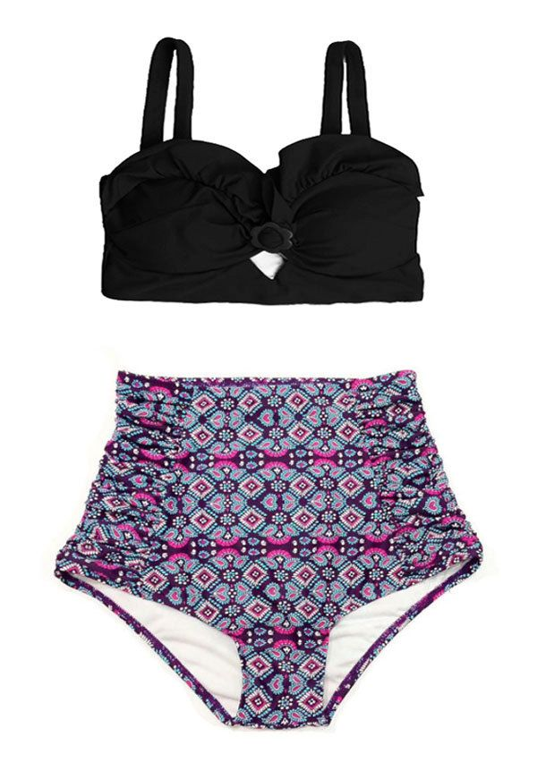 Black Top and Violet Graphic Flora Ruched High by venderstore, $39.99