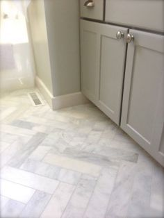 Carrara Herringbone Pattern bathroom floor home depot - Google ...