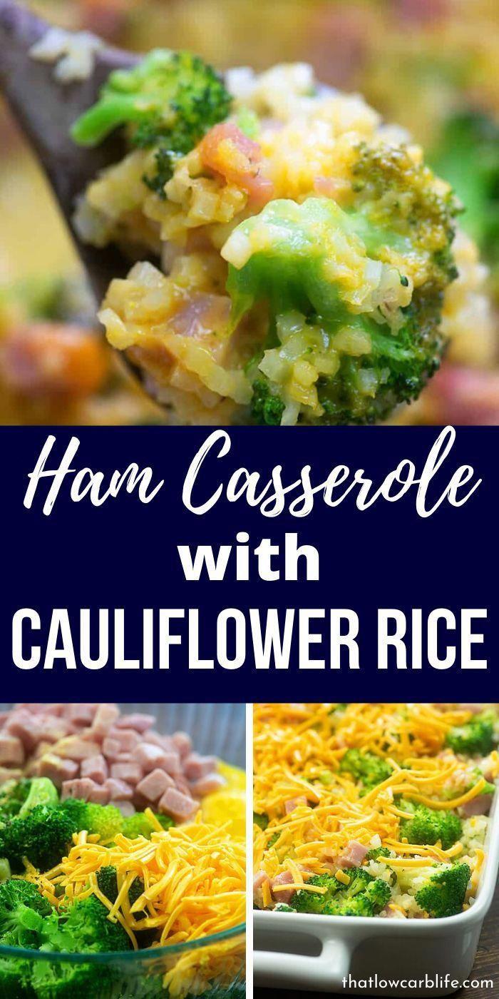 Ham Casserole with Cauliflower Rice