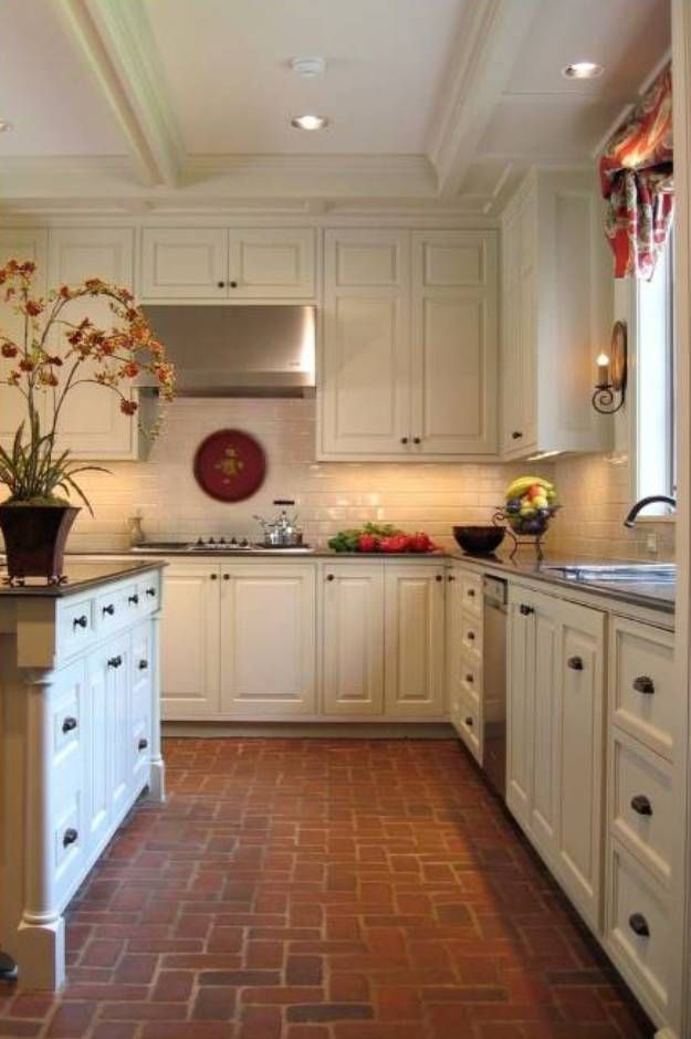 Red Brick Floor in Kitchen | My Big lil Kitchen | Pinterest | Brick ...