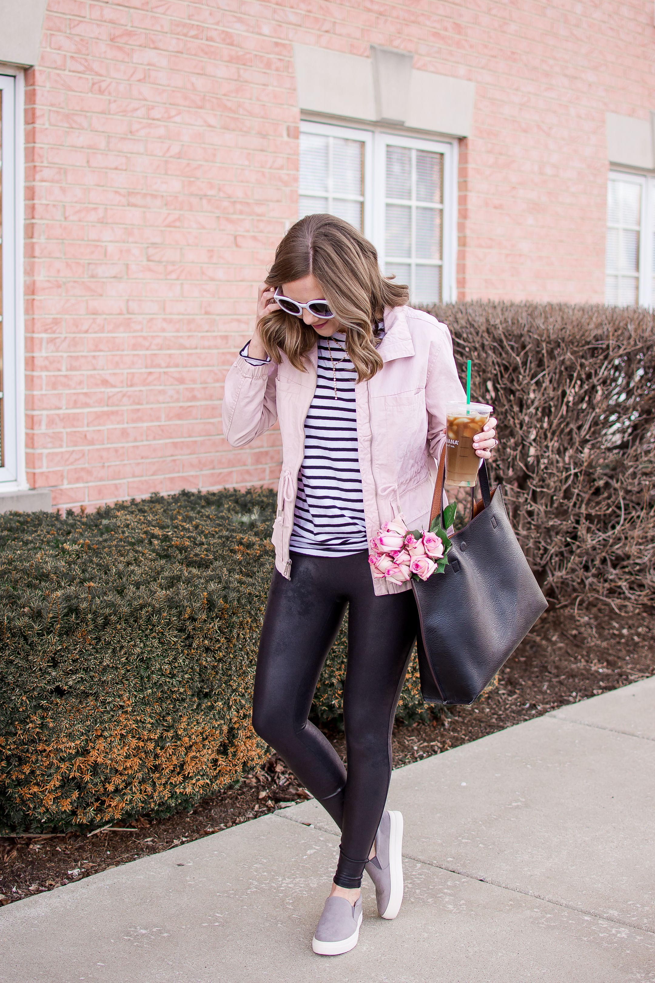 8e7d49c84f89fc spring fashion 2018, old navy pink field jacket, how to style faux leather  leggings