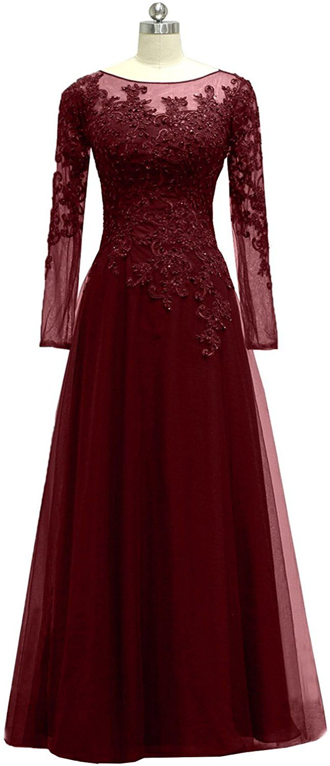 Pretygirl womenus appliques tulle mother of the bride dress long