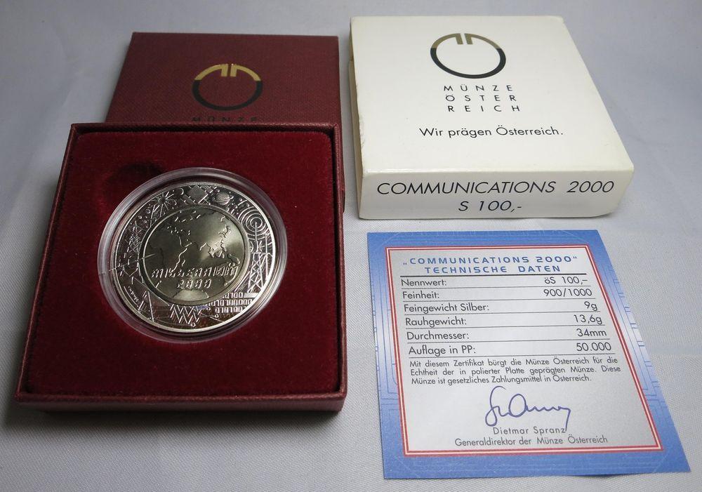 100 Schilling 2000 Osterreich Communications Titan Ag Polierte