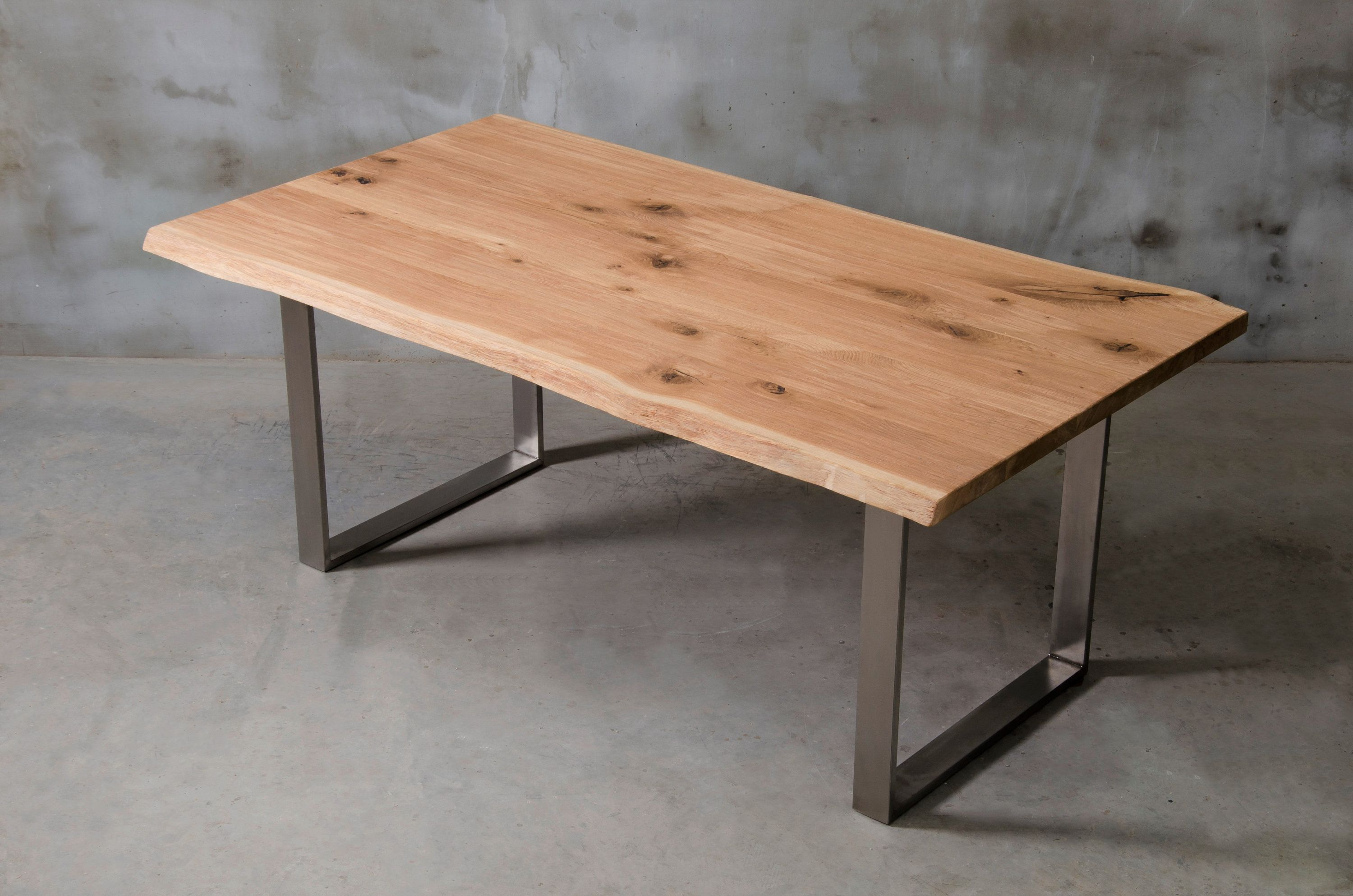 Custom Live Edge Table With Brushed Steel Legs Brushed Oak Dining Table Modern Wooden Table Industrial Table For