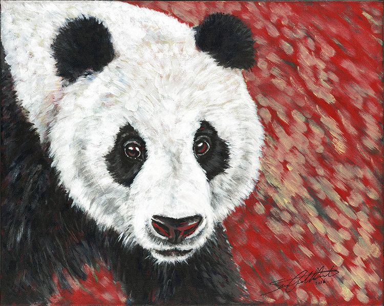 """Panda, original painting by Sara Cuthbert. From the """"Red Series"""", endangered animals. Acrylic on canvas. Visit saracuthbert.com"""